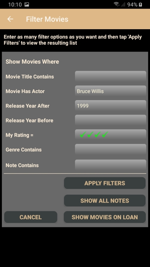 DMLMobile Filter by Actor, Year and MyRating