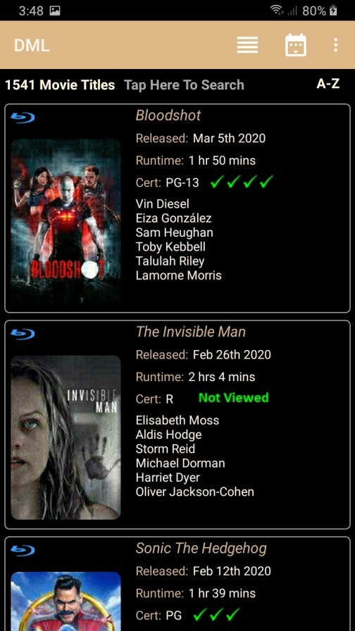 DMLMobile Main Screen List View 2 titles per page