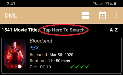 DMLMobile Main Screen Search Text Field Highlighted