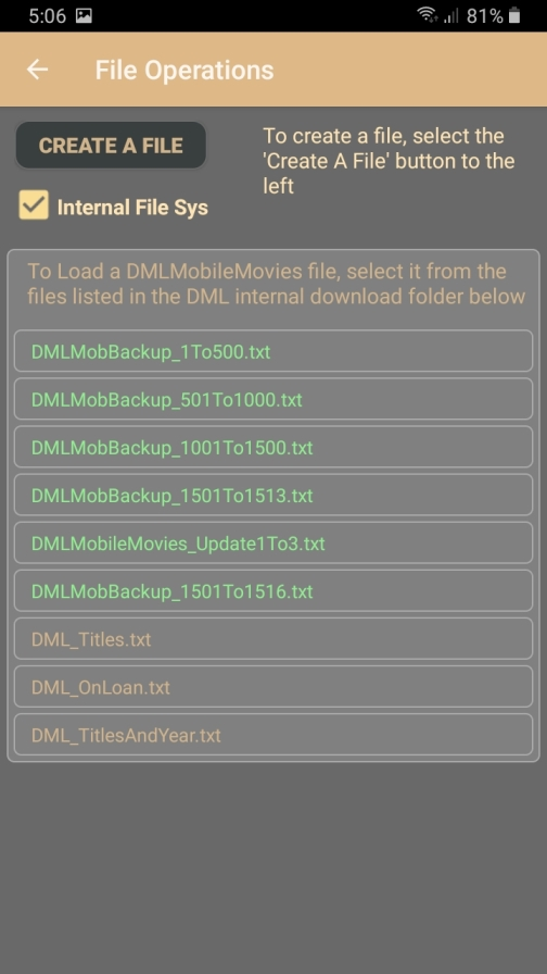 DMLMobile internal Download directory