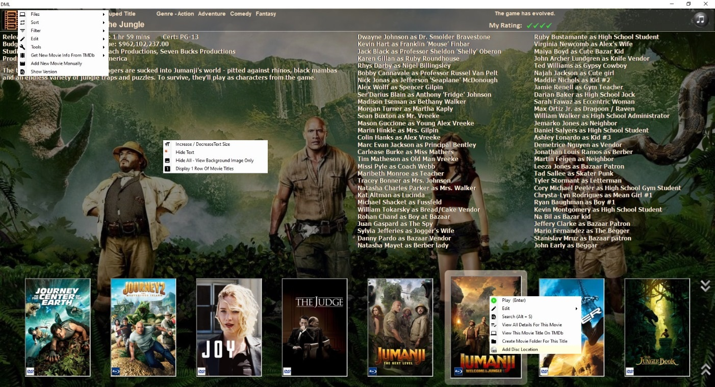 Digger's Movie Library Main Screen With Menus